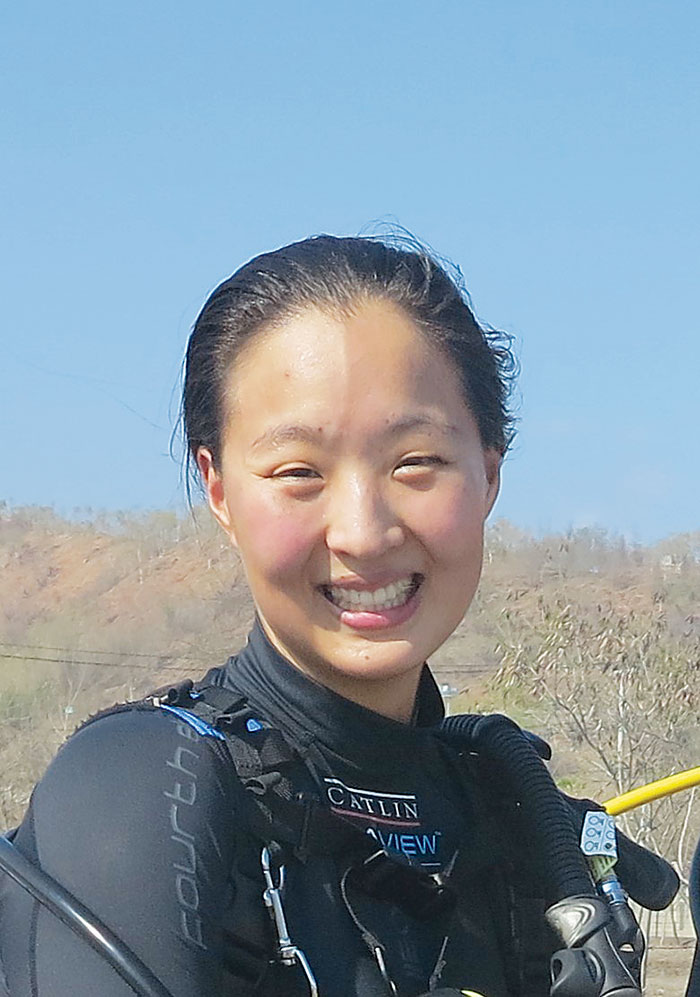 Photo of Katherine Kim wearing scuba gear