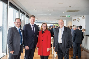 Photo of FRDC board member John Harrison, Senator Cory Bernardi, Senator Anne Ruston (Assistant Minister for Agriculture and Water Resources) and Grahame Turk from Sydney Fish Market.