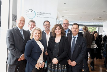 Photo of the inagural board of Seafood Industry Australia: CHauncey Hammond, Marshall Betzel, Belinda Wilson, Mark Ryan, Veronica Papacosta, Dennis Holder