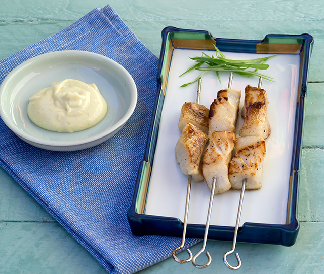Barbecued Patagonian Toothfish Skewers with Wasabi Mayonnaise - photo credit Franz Scheurer1
