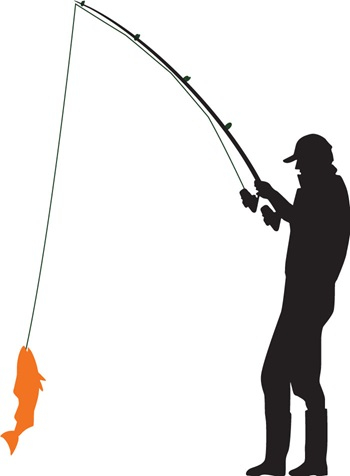 Silhouette icon of man fishing