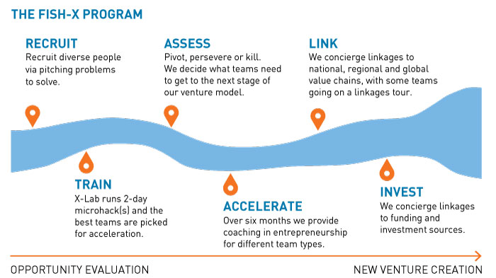 Graphic showing the Fish-X program pipeline