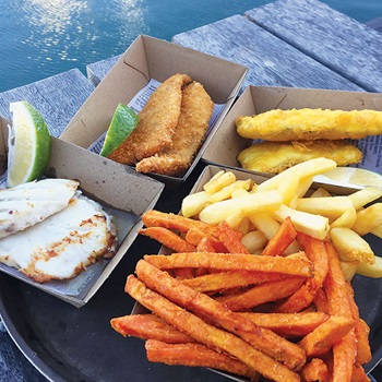 Photo (from left) of grilled Jewfish, crumbed threadfin and battered Barramundi
