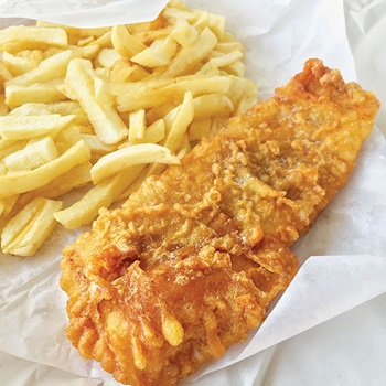 Photo of chips and battered Atlantic cod