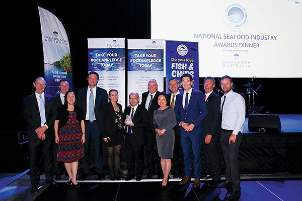 Photo of The team from Austral Fisheries (left to right): David Carter, Dylan Skinns, Camay Young,  Sam Greaves, Jodie Blacker, Shin Tanabe, Clayton Nelson, Lily Zhang, Markus Gerlich, Sam Colvin,  Martin Exel and Jay Shoesmith, celebrating their win