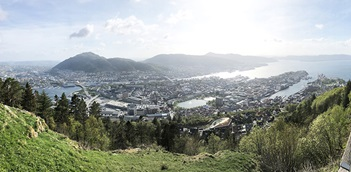 Photo of the view from Mount Fløyen, overlooking the city of Bergen, Norway