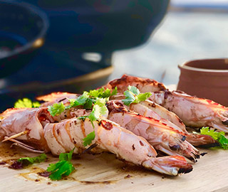 BBQ gulf tiger prawns with chilli garlic and soy burnt butter