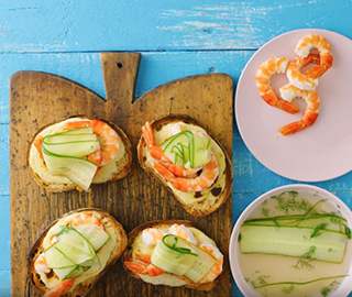 French Open Grilled Prawn Mornay Sandwiches