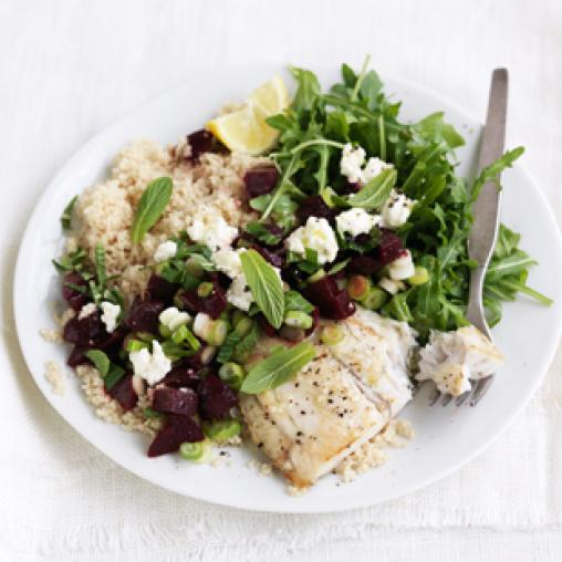 Image of baked fish with beetroot