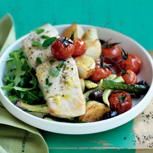 Image of Greek baked fish with roasted potatoes