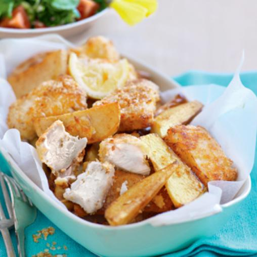 Parmesan-crusted fish and chips