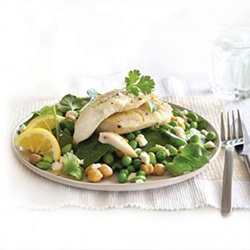 Grilled fish with pea, feta and chickpea salad