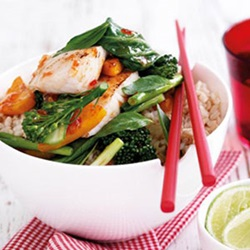 Sweet chilli fish with pumpkin and bok choy