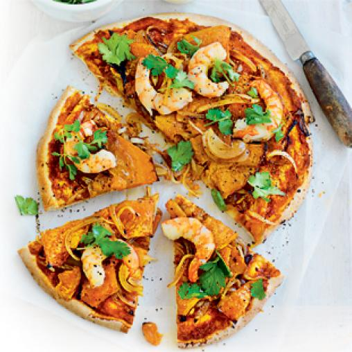Tikka prawn and pumpkin pizzas