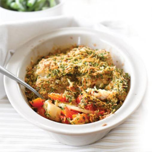 Image of Tomato and potato fish bake