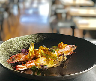 Pan fried gulf tiger prawns with prawn bourride