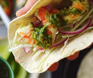 Australian prawn tacos with pickle and jalapeno salsa