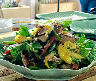 Soy and palm sugar seared snook salad